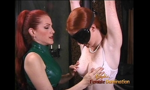Latex-clad redhead slut has her way with a freckled ginger hussy