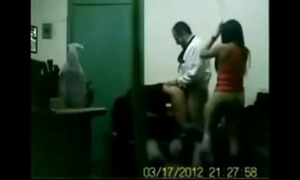 Indian boss fucking his office gals in group sex in cabin