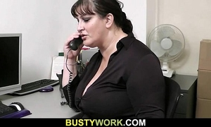 Busty slut acquires slammed at workplace