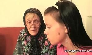 Hot sweetheart helps granny to sucks a wang