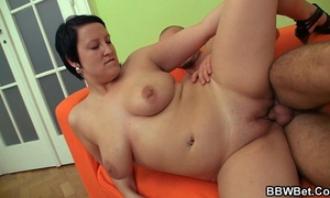 He picks up bbw and bangs her corpulent slit