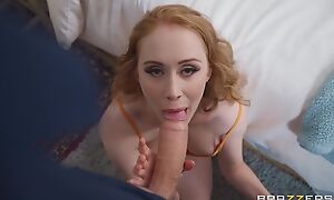 Pale-skinned damsel with big boobs serves massive cock