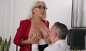 Glamorous blonde damsel gets screwed in the office
